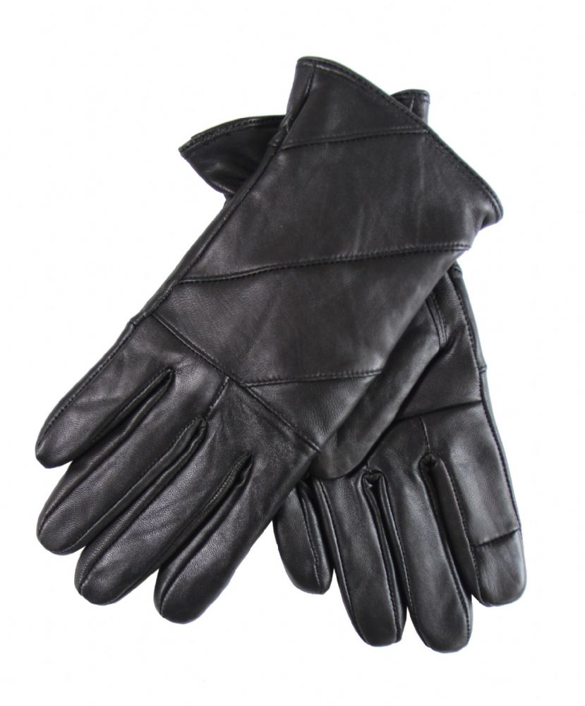 Ladies leather touch winter gloves woman genuine leather driving touch black gloves HT273-WG6606